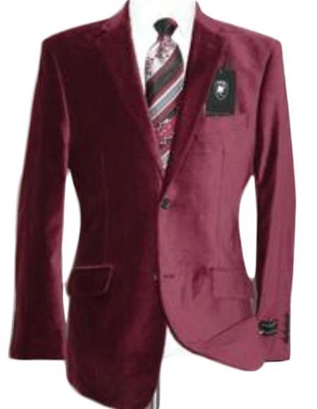 Velour Blazer Jacket Velvet Burgundy ~ Maroon ~ Wine Color Sport Coat Cheap Priced Unique Fashion De