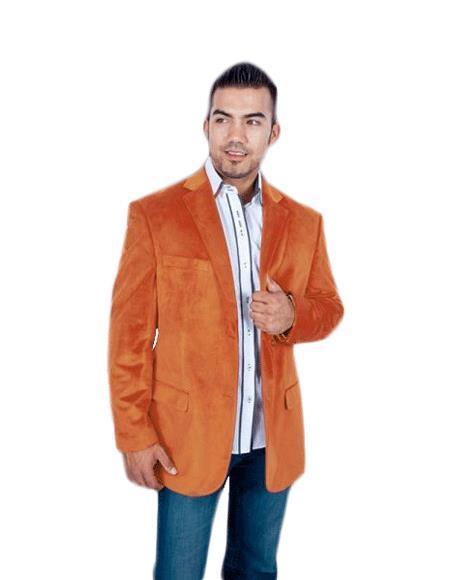 Velour Blazer Jacket Mens Stylish 2 Button Orange Discounted Affordable Velvet ~ Velour Sport coat