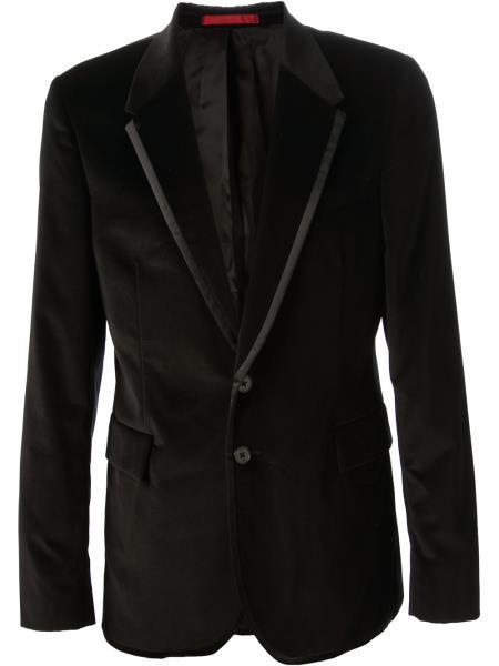 Velour Blazer Jacket Mens Black Cotton