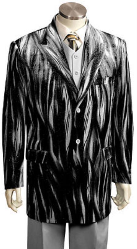 Velour Blazer Jacket Mens Entertainer Black Silver Velvet Cool Sparkly Zebra Print Suit
