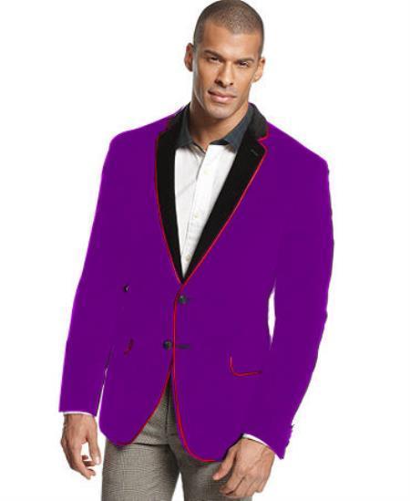 Dark Purple Two Tone Trimming Velvet Blazer for Men
