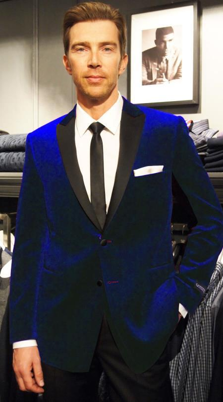 Velour Blazer Jacket  Navy Blue Black satin lapel Formal Velvet ~ Two Tone Trimming Notch Collar