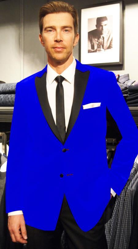 velour Blazer Jacket Sport Velvet Velour Formal Coat Two Tone Trimming Notch Collar Royal Blue Blazer