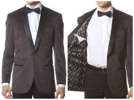 Velour Blazer Jacket Velvet Shawl Collar Dinner Smoking Notch Lapel, Slim Fit Gray ~ Grey Tuxedo Dinner Jacket