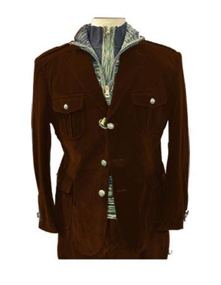 Mens Brown Four Button Two Flap Front Pockets Casual Velvet Blazer