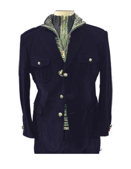 Navy Blue Four Button Two Chest Pocket Casual Velvet Blazer for Mens