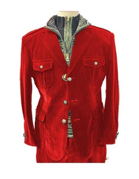 Mens Red 4 Pocket With Brass Buttons Casual Velvet Blazer