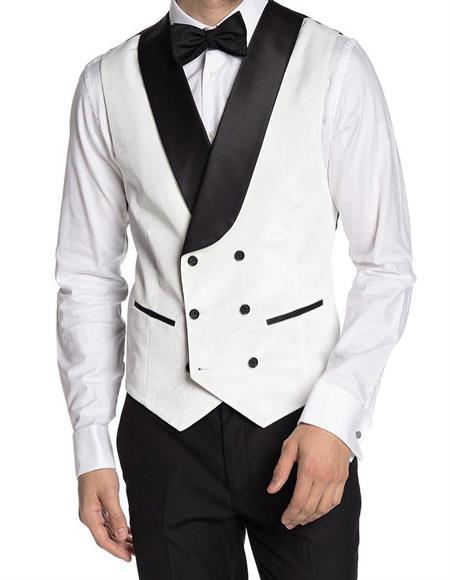 Breasted Velvet Vest White