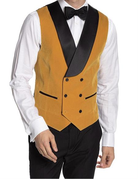 Breasted Velvet Vest Yellow