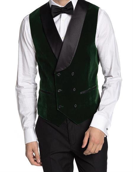 Breasted Velvet Vest Green