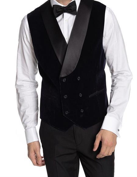 Breasted Velvet Vest Black
