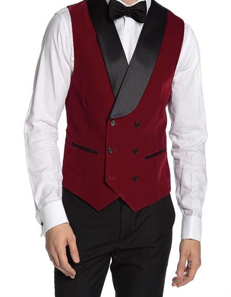 Breasted Velvet Vest Red
