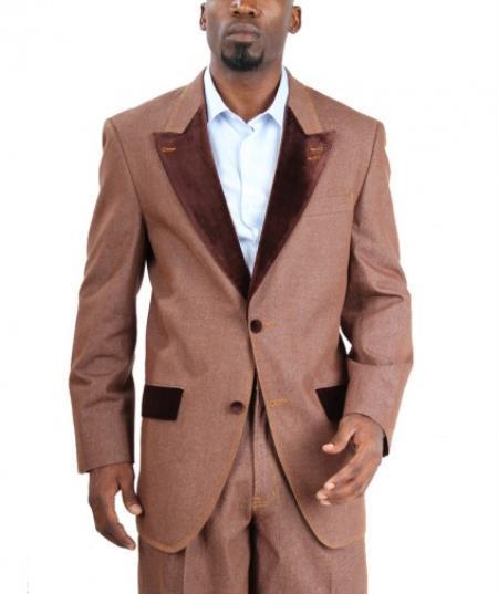 Velour Blazer Jacket  Fashion Two Button Cotton Timmed Denim Velvet Lapel Black,Blue,Brow