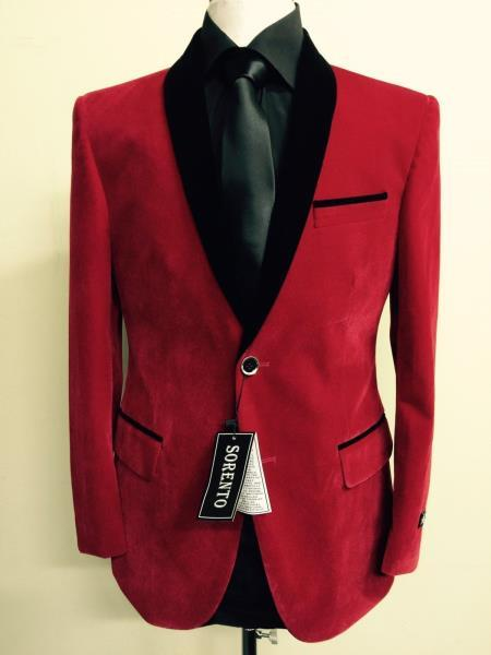 Velour Blazer Jacket Men's Red Velvet ~ Tuxedo Black Lapeled