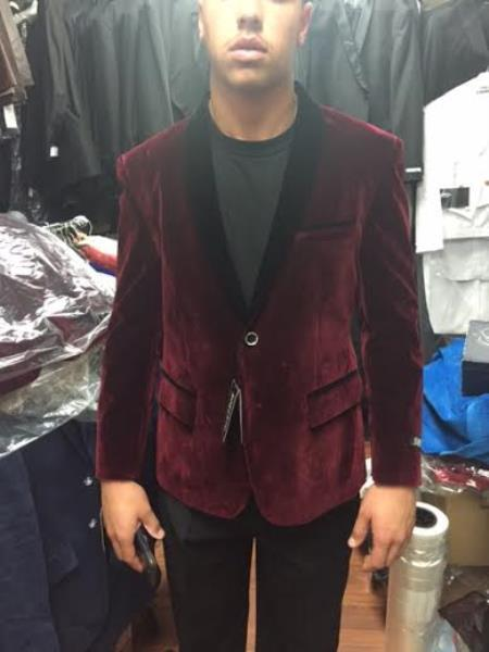 Velour Blazer Jacket  Black and Burgundy ~ Wine ~ Maroon Velvet Shawl Collar Tuxedo