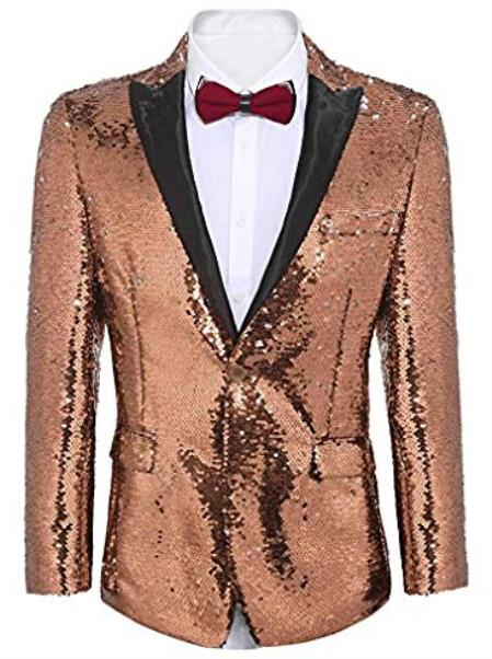 Rose Gold ~ Pinkish Sequin Shiny Mens Blazer