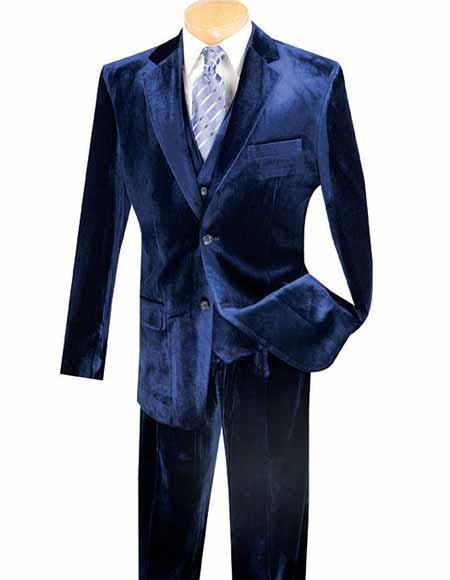 Men's Dark Navy Side Vent Velvet ~ velour Blazer Jacket & Pants Same Fabric