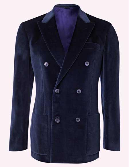 Men's Velvet Dark Navy Blue Suit For Men Double Breasted 6 Buttons velour Blazer Jacket