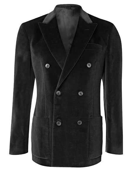 Men's 6 Buttons Velvet Double Breasted Black velour Blazer Jacket