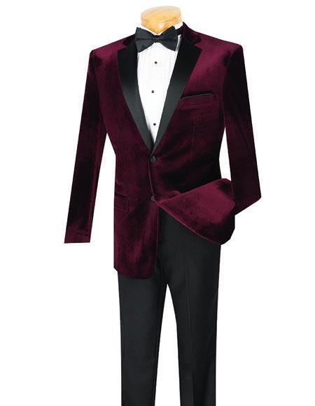 Button Wine Velvet Tuxedo