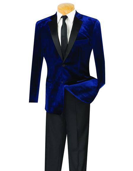 Mens Navy 2 Button Velvet Tuxedo Notch Lapel velour Blazer Jacket