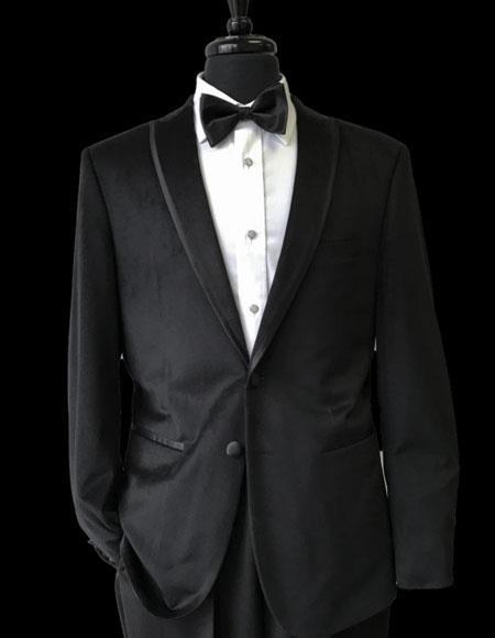 Mens 2 Buttons Black Trimmed Lapel Velvet Tuxedo velour Blazer Jacket