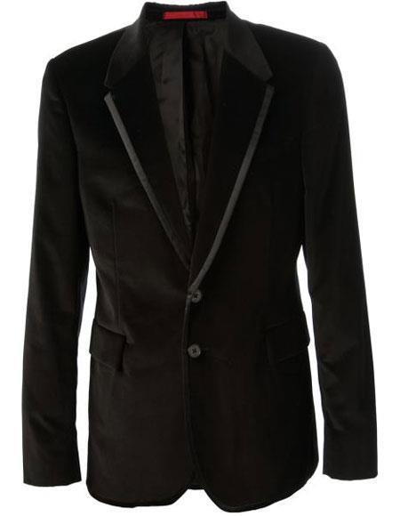 Alberto Nardoni Brand Mens Black Velvet velour Blazer Jacket & Black Trim Lapel Tuxedo
