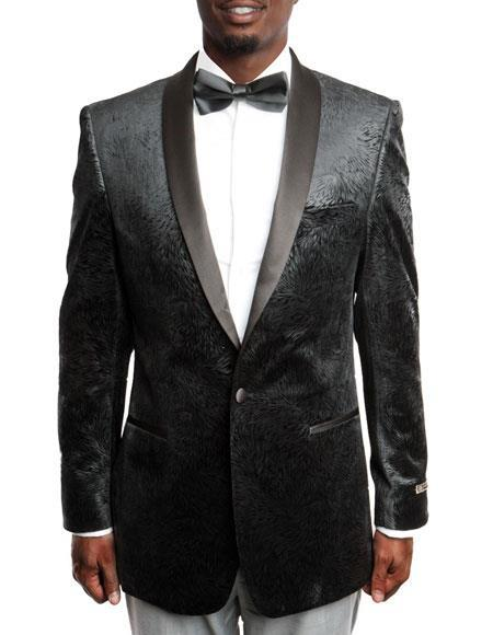 Men's Black Velvet Fashion Tuxedo with Satin Shawl Lapel 100% Wool velour Blazer Jacket
