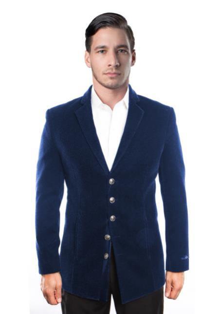 Navy Blue Modern Stylish Velour Blazer Jacket For Men