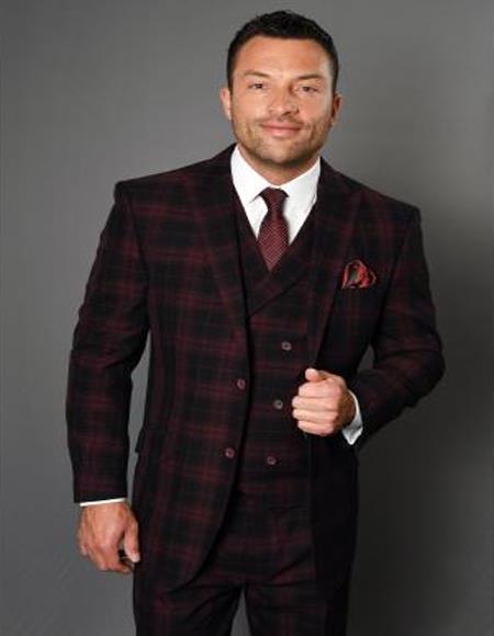 Mens 3 Piece 100% Wool Fashion Suit - Timeless Plaid