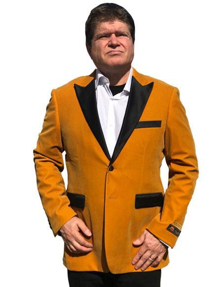 Alberto Nardoni Brand Gold Velvet Tuxedo velour Blazer Jacket Available Big Sizes