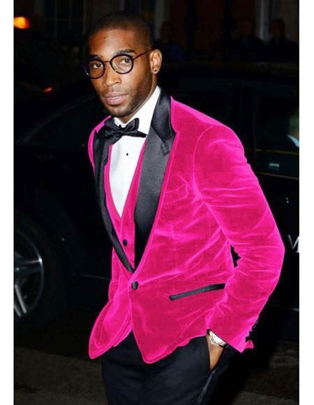 Festive Colorful Pink~ Fuchsia Wedding Prom Best Fashio Suits velour Blazer Jacket For Men Perfect For Prom Clothe - Prom Outfits For Guys