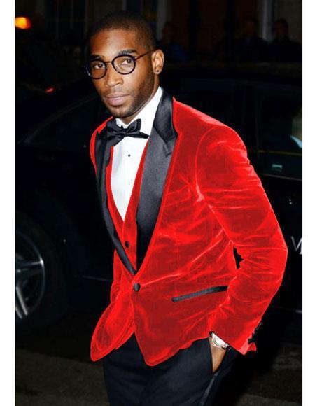 Alberto Nardoni Brand Mens Hot Red Velvet Tuxedo Cheap Priced velour Blazer Jacket For Men ~ Sport coat