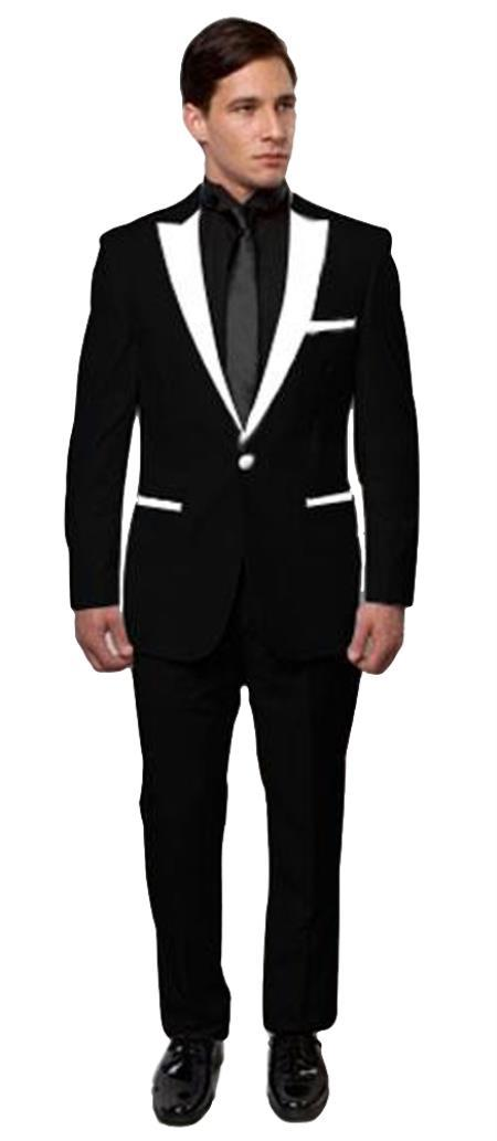 BTuxedo ~ Tux Black And White Lapel Tuxedo Two Toned Velvet Fabric velour Blazer Jacket