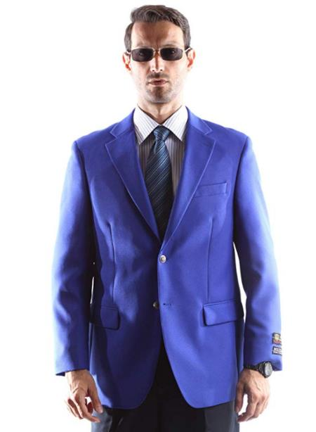 Blue Big and Tall & Extra Long Sizes Mens Blazer With Brass Buttons