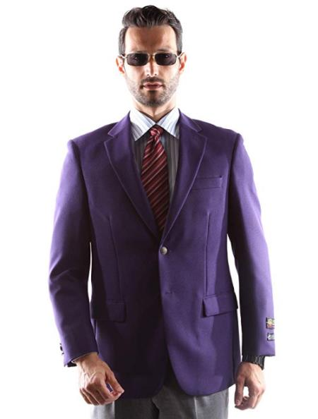 Mens Eggplant Notch Lapel Center Vent Big and Tall & Extra Long Sizes Blazer