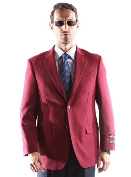 Burgundy Notch Lapel Big and Tall Mens Blazer on Sale