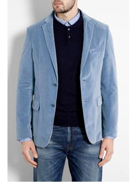 Mens Sky Blue ~ Light Blue ~ Baby Blue Velvet Blazer Sport Coat Jacket