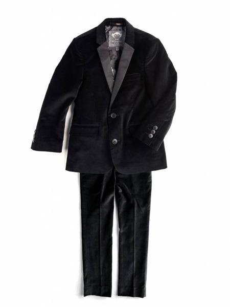 Mens 2 Button Black Velvet velour Blazer Jacket