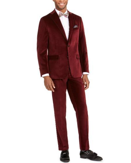 Mens Burgundy Velvet Suit