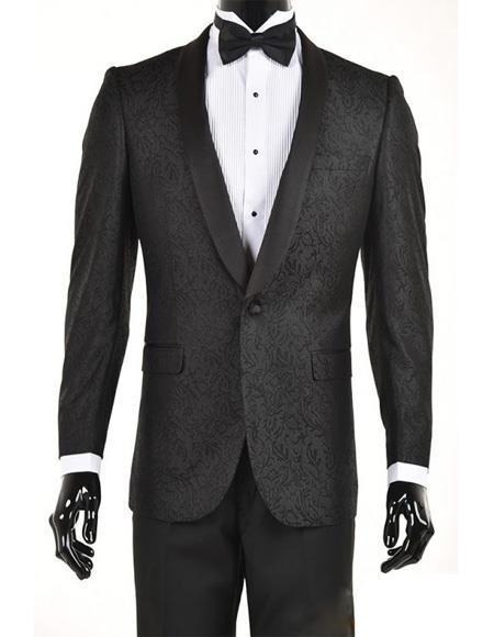 Mens Black Velvet Paisley Suit Jacket velour Blazer Jacket Sport Coat Dinner Jacket