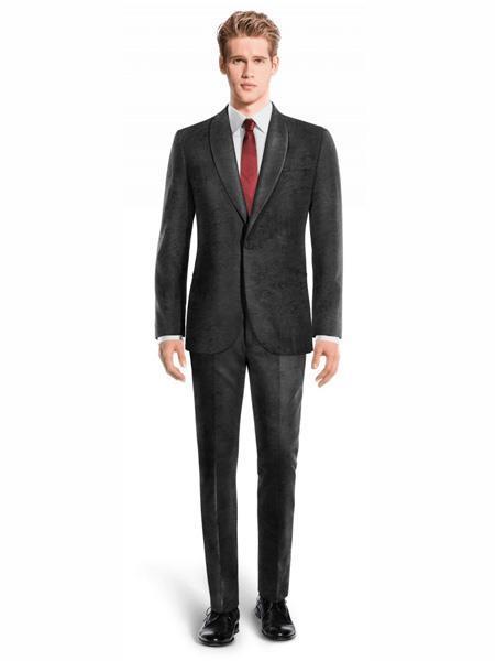 Mens Single Breasted Shawl Lapel Velvet Suit Black velour Blazer Jacket