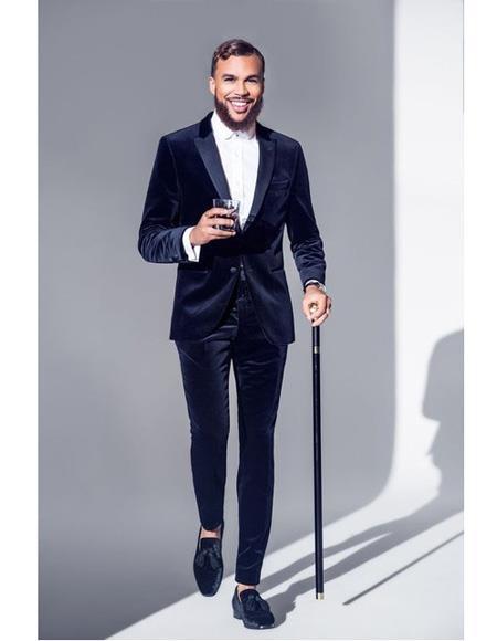Alberto Nardoni Dark Navy Blue and Black Velvet Tuxedo Suit velour Blazer Jacket + Velvet Pants