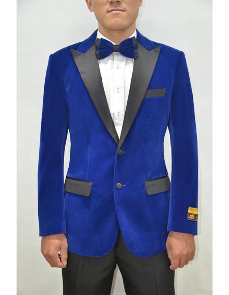 Mens Royal Blue Modern Stylish Casual Velour Blazer Jacket