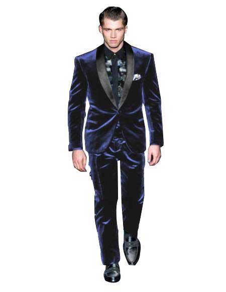 Mens One Button Navy Blue Single Breasted Velvet Tuxedo Suit velour Blazer Jacket