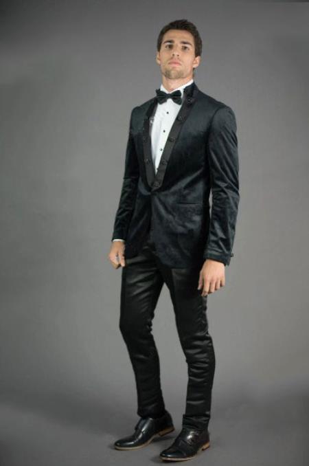 Mens Peak Lapel Slim Fit Black Velvet Jacket velour Blazer Jacket