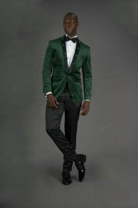 Mens Peak Lapel Slim Fit Green Velvet Jacket velour Blazer Jacket
