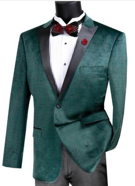 Velvet Plaid ~ Window Pane Velvet Tuxedo Dinner Jacket velour Blazer Jacket