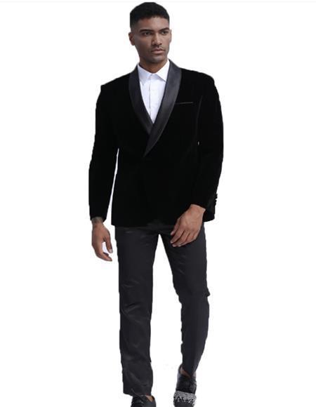 Mens Black Shawl Lapel One Chest Pocket Velvet Sport Coat velour Blazer Jacket