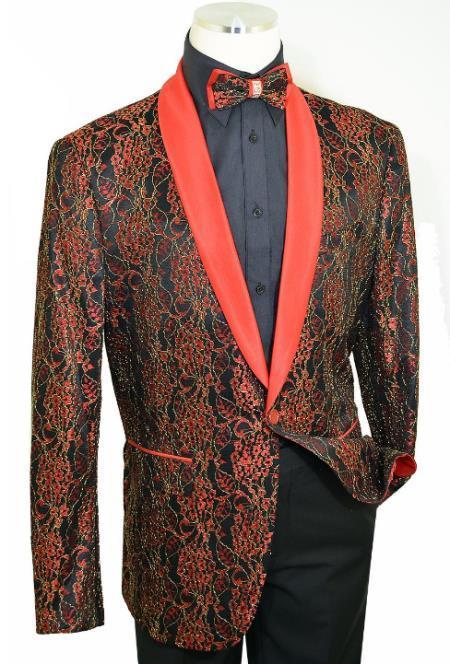 Cielo Red / Black / Metallic Gold Laced Satin Classic Slim Fit Cut velour Blazer Jacket / Bow Tie